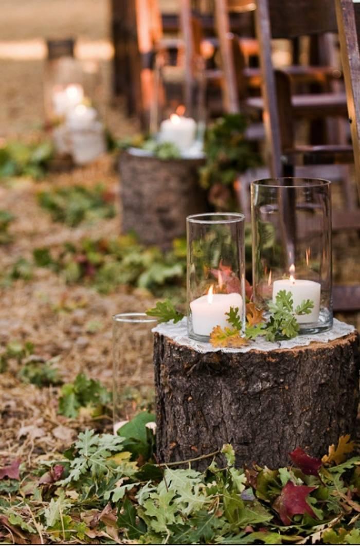 Herbst Hochzeitsdeko Freien Trauung Deko Baumstamm Kerzen
